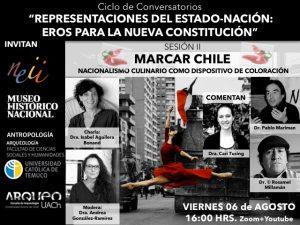 """Charla """"MARCAR CHILE. Nacionalismo culinario como dispositivo de coloración""""  de Isabel Aguilera Bornard"""